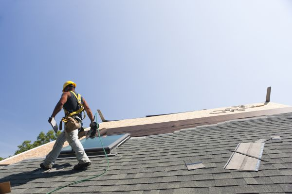 roofer installing flashing in bucks county